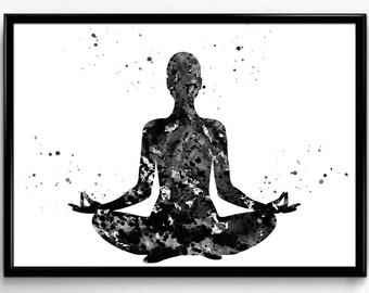 Meditating Woman, Spirituality, Buddhism,Yoga, Peace, Black and White Watercolor, Poster, Room Decor, printable wall art (368)