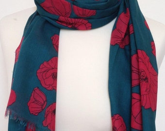 Red poppy scarf - green scarf - red floral shawl - scarf - red poppy wrap - shawl - womens scarf - in 100% cotton
