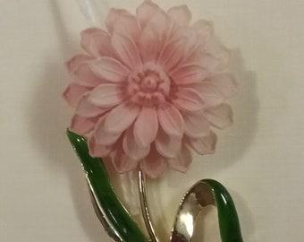 Pink Chrysanthemum Pin /Vintage Pink Flower Brooch