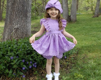 1950 Vintage Style Lilac Eyelet Pinafore, Shorts and Hat Little Girl Set