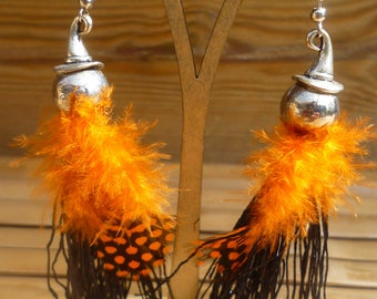 Orange and black feather earrings
