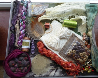 """Hope jacare - """"Spirit doll"""" Creativity pack  - hand dyed threads, fabric and other goodies - CP61"""