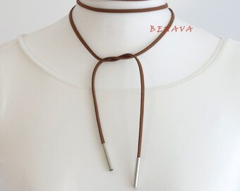 Choker necklace collar Brown Silber necklace