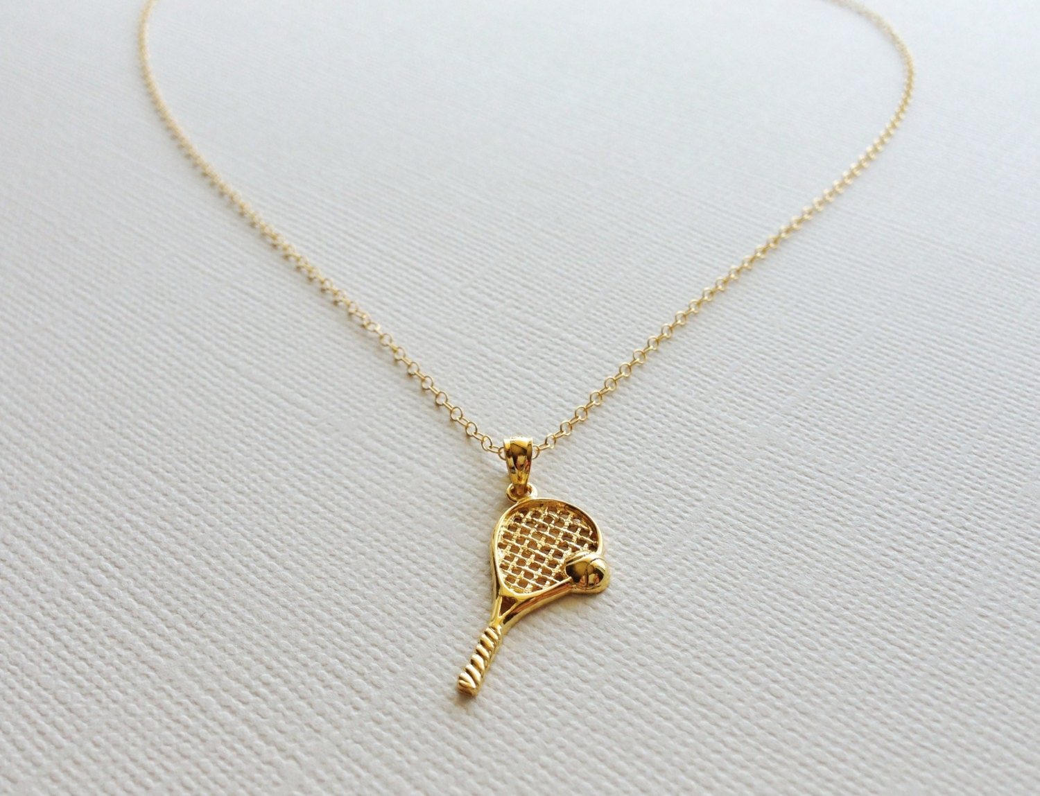 Tennis racket necklace in sterling silver 18k yellow gold zoom mozeypictures Choice Image
