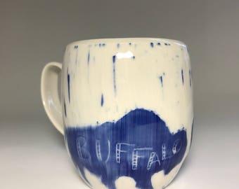Blue buffalo mug
