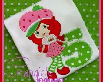 Strawberry Shortcake Birthday Personalized Applique T-Shirt