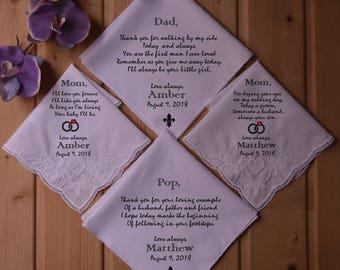 Wedding handkerchief   Personalized handkerchief   handkerchief   parents of the bride gifts   wedding handkerchief set   hankies   hanky