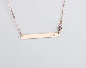 Tiny Skinny Bar Necklace Gold Bar Name Necklace Small Bar