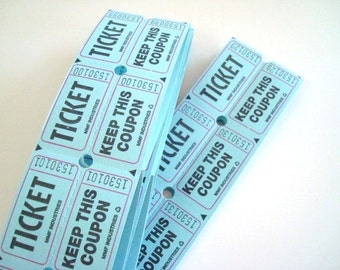 Blue Two Part Raffle Tickets - 30  Tickets