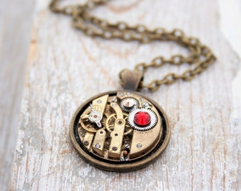 Statement Necklace Old Gold Pendant Necklace Steampunk Vintage Watch Necklace Gifts for Girlfriend Valentines Jewelry Gifts for Her
