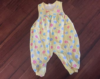Vintage Baby Romper, Cute Yellow Polkadot One Piece Sleeveless Romper 18m Baby Vintage Toddler Outfit 1980s 80s Baby Play Clothes 12m 18m 2t