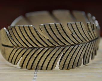 19 Gram Silver Plate Copper Hand Made Leaf Bangle Bracelet