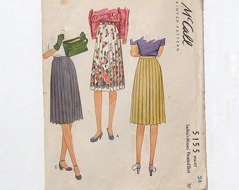 "Vintage 40's McCall Pleated Skirt Sewing Pattern #5155 - Waist 24"" - Cut and Complete"