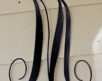"""22 inch Black Script Metal Letter """"M"""" Door or Wall Hanging"""