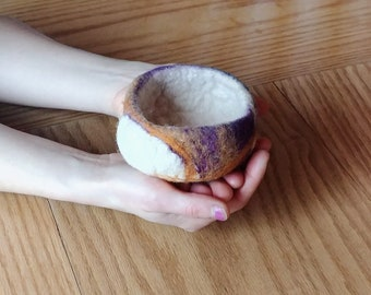 Merino Wool Hand felted bowl, Wet Felted Bowls, Purple and Earthy Colors, Can be made in Your choice of Colors