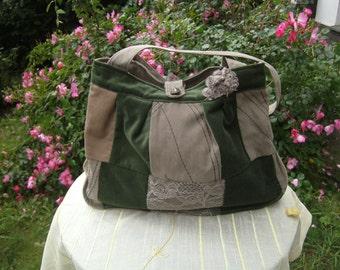 green Samtpatchworkbag    handmade Bag, upcycled Bag, recycled Bag, Lacebag, Giftidea