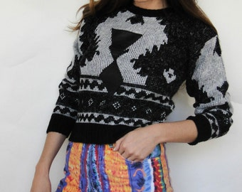 Vintage 80s/90s Faux Leather Aztec Design Cropped Sweater