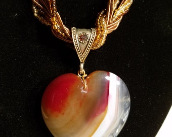 Shades of autumn heart necklace