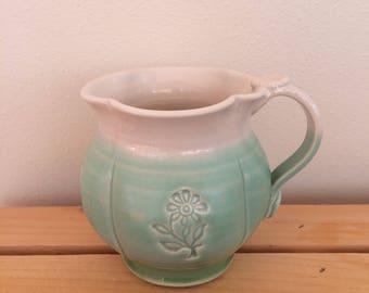 Handmade Ceramic Flower Mug, Gift for Gardener Mug, Floral Mug, Whimsical Mug, Ready to Ship, In Stock