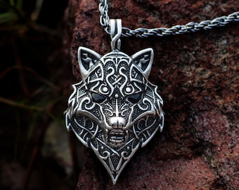 Norse Wolf Pendant W/ Obsidian Eyes - Viking Necklace, Celtic Jewelry, Nordic Jewelry, Wolf Necklace, Shaman Jewelry - #M-P94