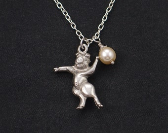 dancing pig necklace, sterling silver filled, Swarovski pearl choice, silver pig charm, pig 3D charm necklace, fun necklace, animal, girls