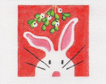 Mistletoe and The White Bunny Needlepoint Square - Jody Designs  WB10sq