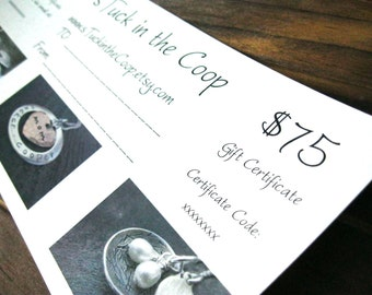 75 Dollar Gift Certificate sTuck in the Coop Personalized Jewelry