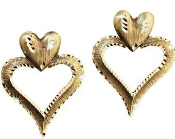 Silver Pewter Diamond Cut Handmade Heart Earrings Jewelry