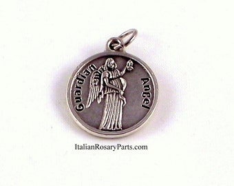 Italian Rosary Parts   Guardian Angel Religious Medal Angel of God My Guardian Dear
