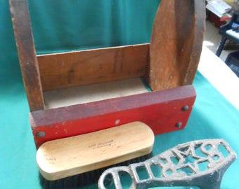 Vintage Handmade Wood SHOESHINE KIT
