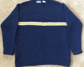 Vintage 1990s Heavy Chunky Hand Knit 100% Wool Aeropostale Sweater- Men's Size Large