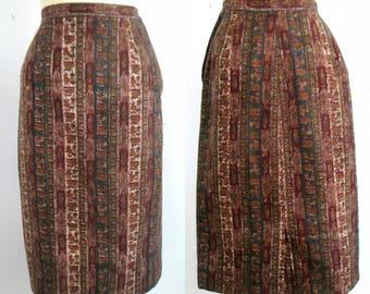 Batik Cotton 1960s Pencil Skirt / Mid Century Straight Skirt with Pockets