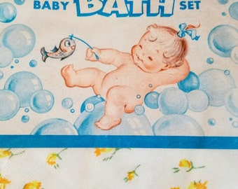 Baby Bath Set Vintage Towel and Washcloth in Original Package
