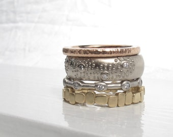 READY TO SHIP One of a kind white gold band, sale 14kt recycled white gold and diamond wedding band, wide eternity ring