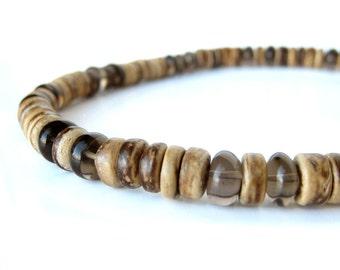 Mens jewelry - men's necklace made from smoky quartz and coconut shell - Gunsmoke