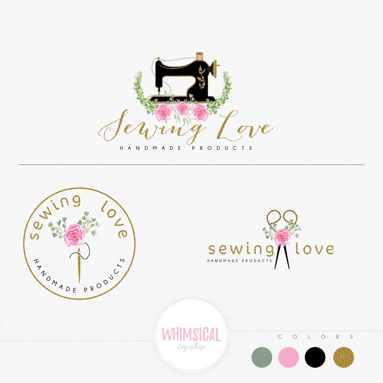 Floral Sewing Machine Handmade Products Logo Craft Store