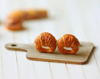 Food Earrings - Croissant Earrings - Gifts Under 30