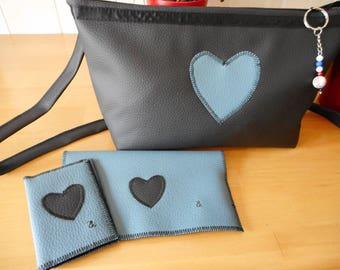 Teal heart black shoulder bag