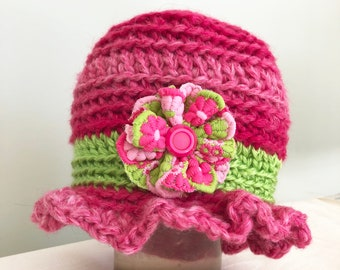 Pink Ruffled Baby Hat with Flower