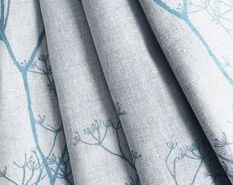 Made to Measure Curtains- Teal Blue Curtains- Lined Curtains- Cowslip- Trees- Plants- Linen Curtains- Bespoke Curtains- Custom Curtains- UK