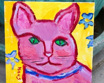 Original Oil Painting Pink Cat Yellow Pop Art Artwork Wall Hanging Home Decor California Artist Hippie Gifts Gift for Hippie Lovers USA