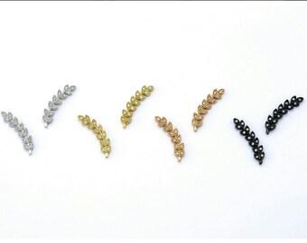 PAR - oro vermeil hoja de olivo rama earpins earclimber pendientes, circones blancos, plata de ley 925