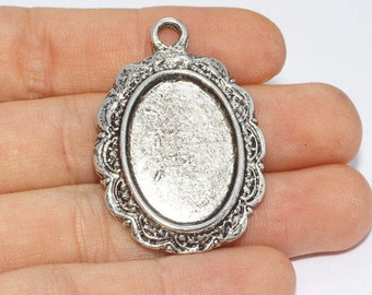 37x26mm Antique Silver Pendant Tray, Bezel Settings, Cabochon Tray,SKU/TR5