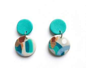 TEAL CHAMPAGNE polymer clay statement dangle earrings - teal copper bronze silver pearl