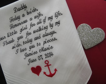 Father of the Bride Handkerchief-Father of the bride gift-Wedding Handkerchief-Embroidered-customized-Wedding Hankies gift for Dad