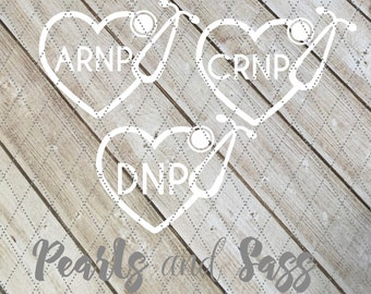 ARNP Stethoscope Heart Decal - Nurse Practitioner - CRNP - DNP - 60 Colors, Nurse Practitioner's Stethoscope,