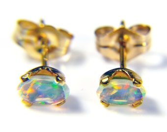 5x3mm, Ethiopian Welo Opals, AAA+ grade fiery Opals, Oval Natural,  Ethiopian Opals, GOLD Filled, Ear studs with excellent play of color.