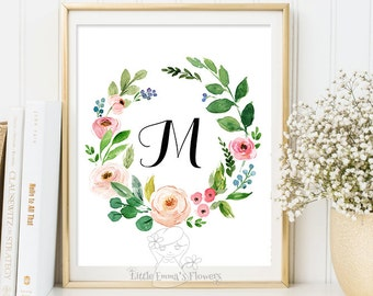 Pink flowers Nursery Letter, Monogram Art, Wall Decor, floral printable, flower calligraphy monogram, modern Initial print art 22