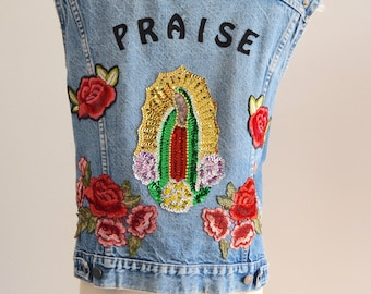 70s LEVIS DENIM Sequined jean PRAISE jacket cut off vest Woodstock/ Beaded Our Lady Of Guadalupe/Hand Reworked with Flowers patches Style