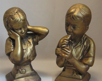 Bust Figurine Book Ends Boy W/Flute & Girl E Villasis Esco Products 1959